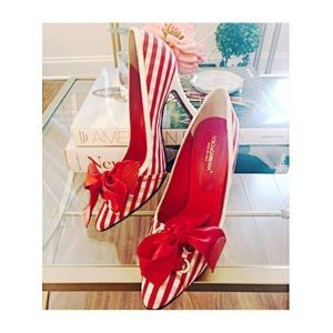 [D&G] Red and White Gingham Bow Pumps